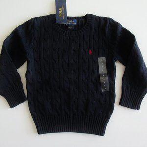 Ralph Lauren LS Navy Cable Crewneck Sweater Sz 4